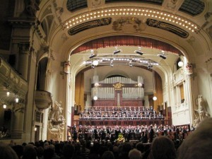 stage full of performers in Smetana Hall