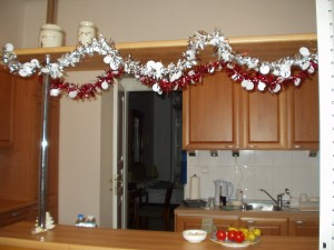 streamers in our kitchen for Christmas