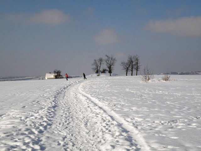 skiers at Bila Hora, Prague