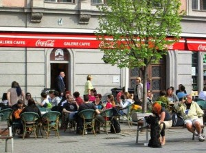 sidewalk cafe in Brno in April