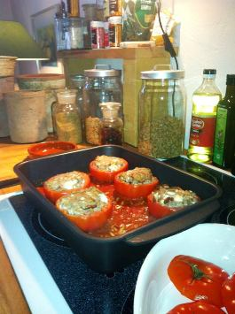 stuffed tomatoes at cooking class