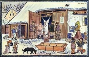 Czech folk art by Josef Lada: Hog slaughter