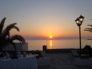 Parikia wine and sunset