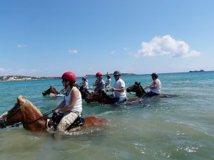 horseback in sea