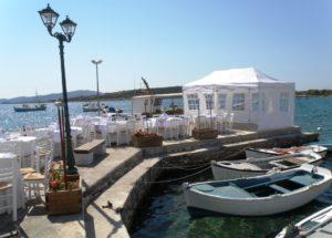 Aliki pier set up for wedding