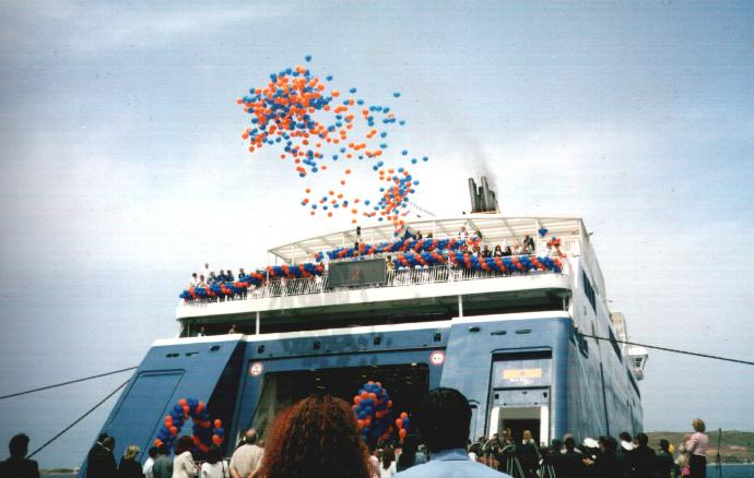 ferry with balloons