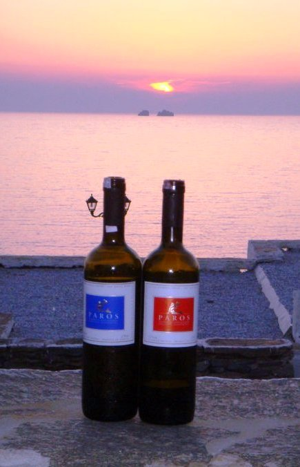 Paros wine at sunset