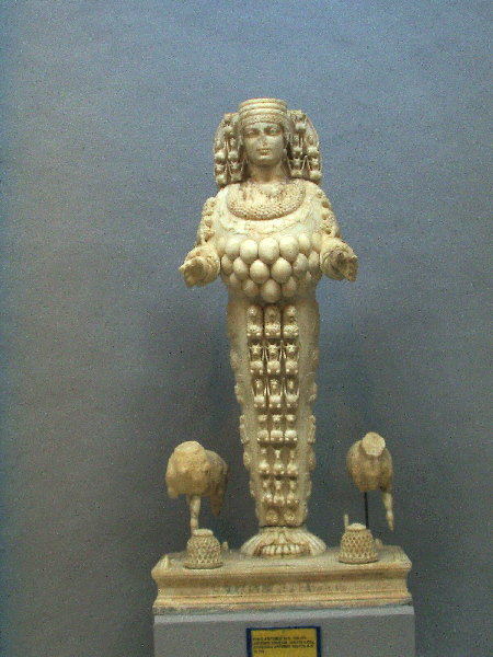 Artemis statue with bull's balls and other symbolism