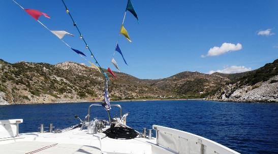 Antiparos beach from boat