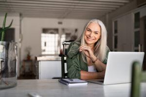 Happy senior business woman